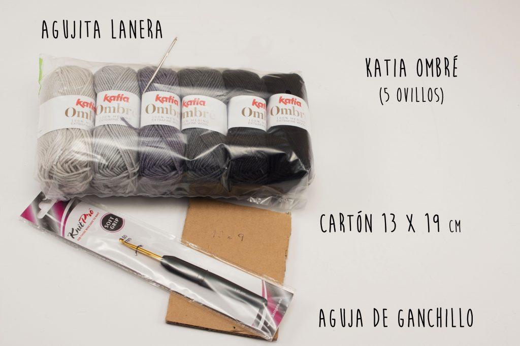 Materiales necesarios para hacer un chal de ganchillo con katia ombré
