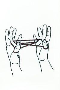 Diagrama para bordar Juedo de dedos con cordel