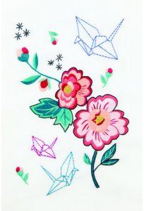 Diagrama para bordar Peonía y grulla de verano