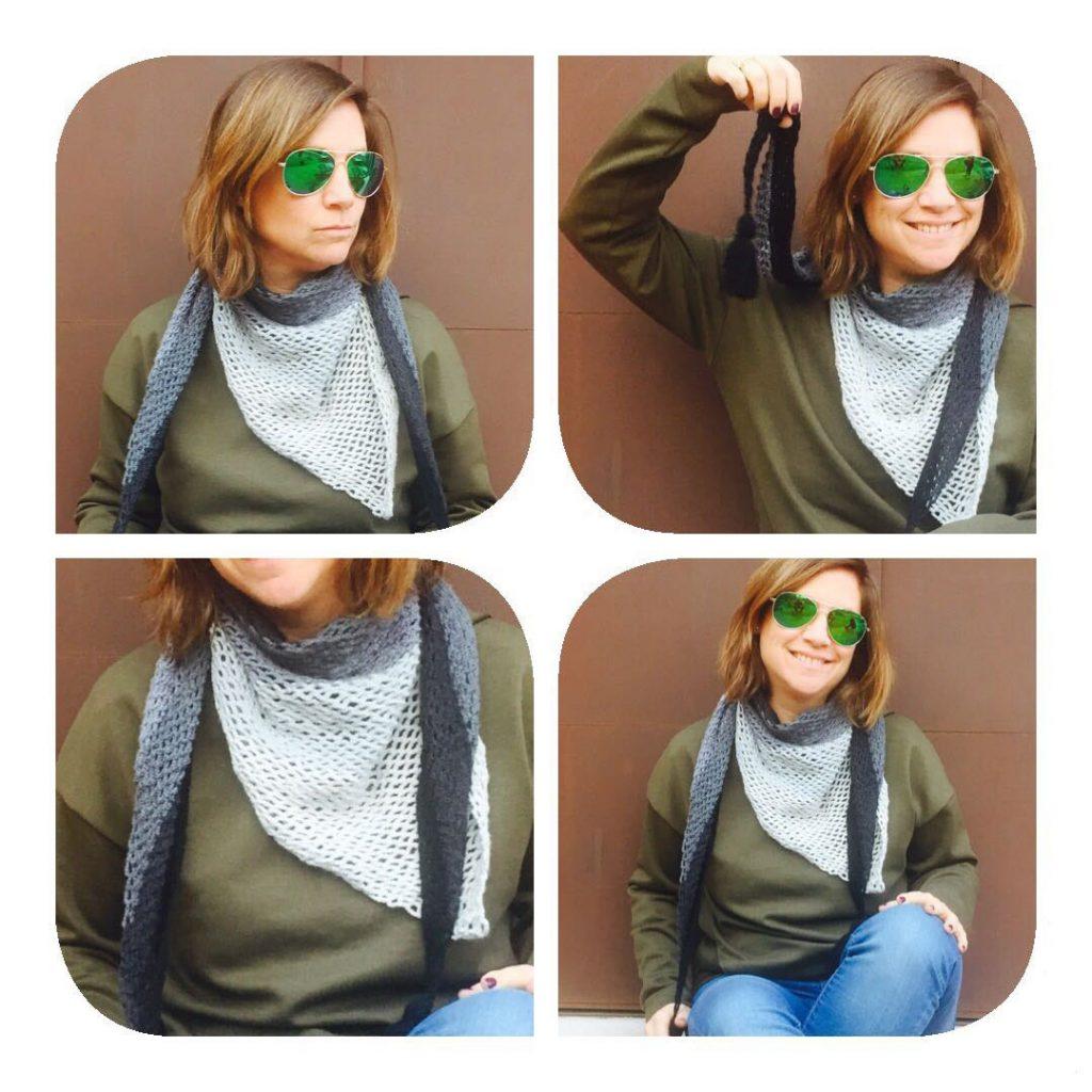 cuatro fotos de Mariel con el chal de ganchillo