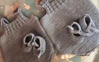 Patrón de peto y patucos para mellizos, talla 0-3 meses